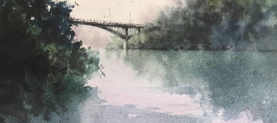 發現馥蘭朵之美-台師大美術博士生羅宇成畫作-漫雨(水彩,35.5*25.5cm)