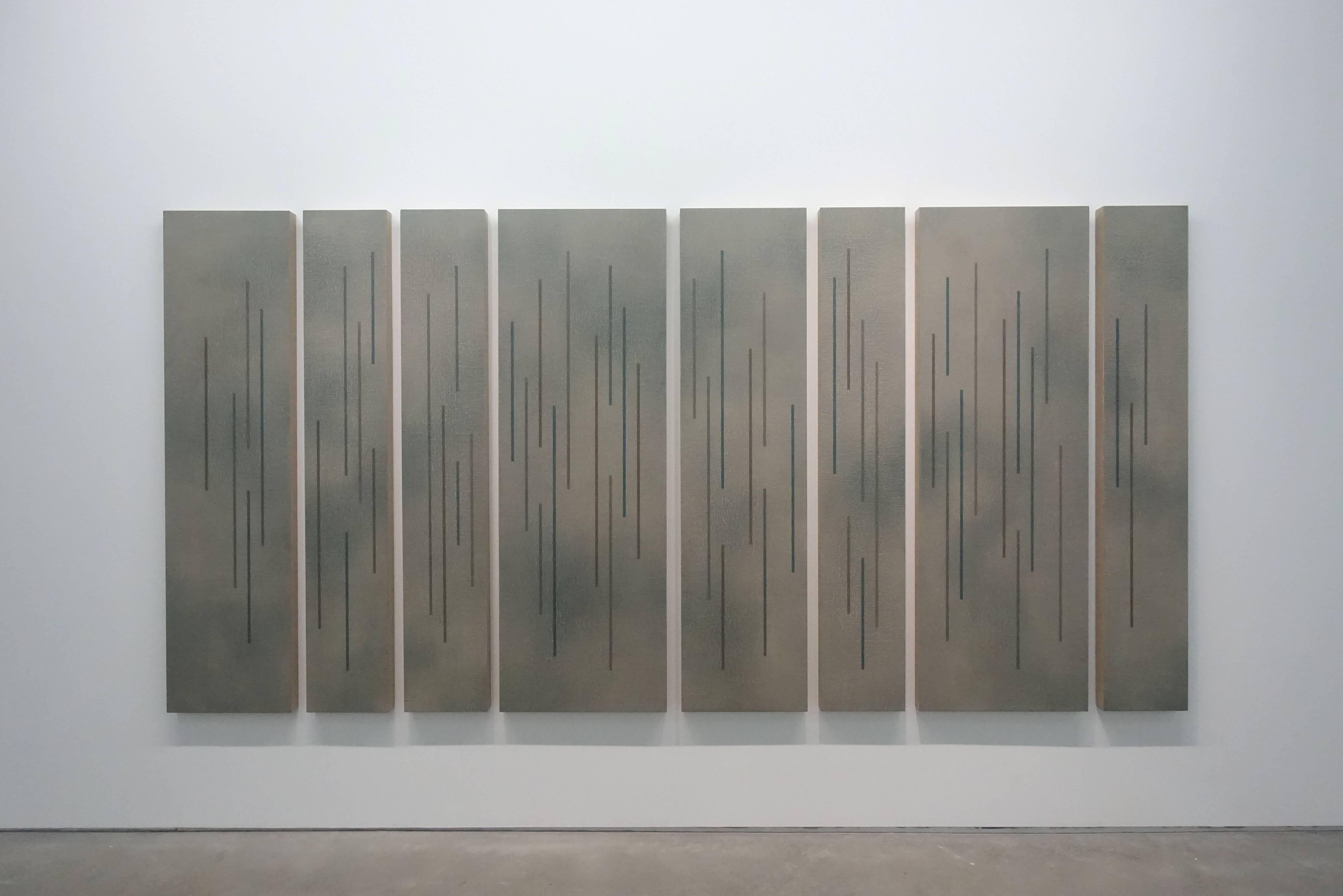 吳東龍,《Color Lines-34》,180 x 365 cm (8 拚 300 號) ,Oil on Canvas Board,2018。