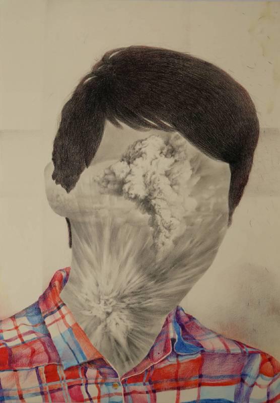 自爆 Explosion, 水溶性彩色鉛筆、插畫紙, 56.4x38cm, 2018