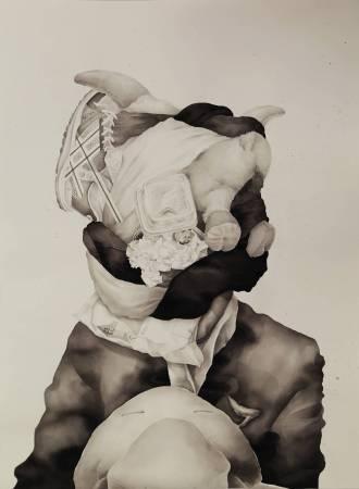 空中飛人 Cathy Head, 水粉、墨汁、法國水彩紙, 75x55cm, 2018