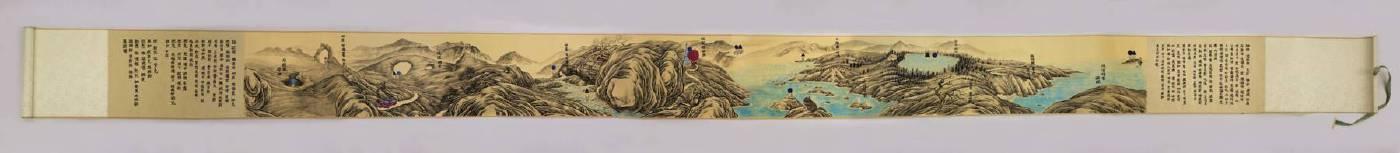 美西山水遊記 West Coast Diary, 卷軸紙本、墨汁、水粉, 22x360cm, 2018