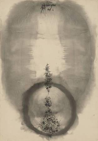 歐陽文苑《無題》,彩墨、紙,78x54.5cm,1964。圖/采泥藝術
