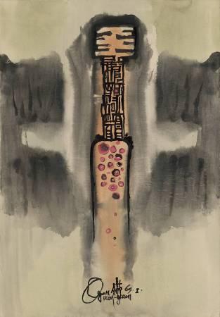 歐陽文苑《無題》,彩墨、紙,78x54.3cm,1965。圖/采泥藝術