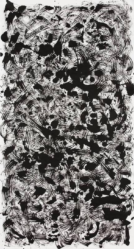 上原木呂,《 Kiro UEHARA》,無題,2016, 水墨紙本,143x77cm。圖/取自白石畫廊