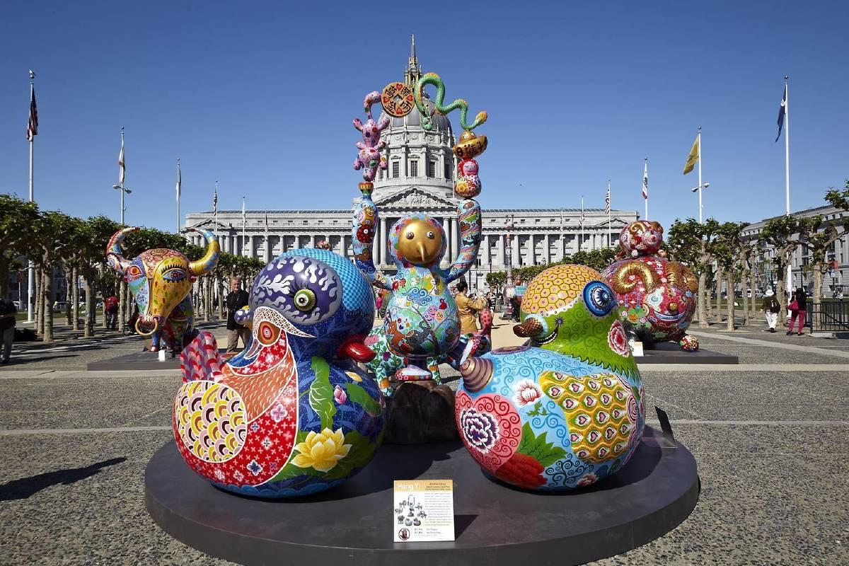 洪易 花漾動物嘉年華 2015 美國舊金山市政廳展覽實景「裝置藝術-馬戲團」