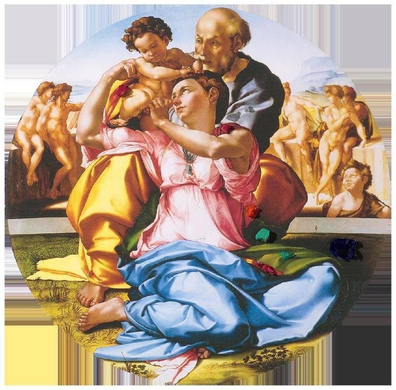 聖家庭與聖約翰複合媒材、畫布直徑50cm1506-2018