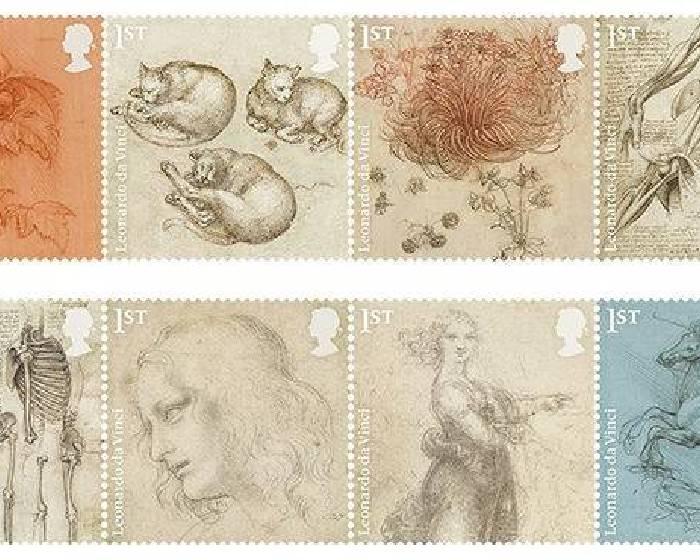 逝世500週年紀念,李奧納多.達文西的經典畫作出現在英國郵票上