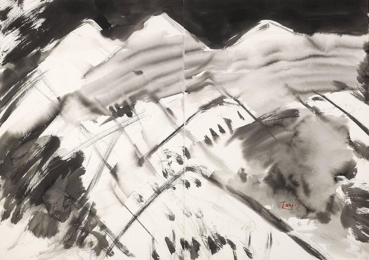 曾海文 遠山 1980年 100x70cm (雙聯幅)