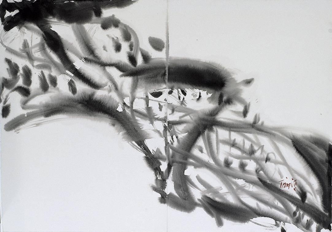 曾海文 無題 水墨 100x70cm (雙聯幅)