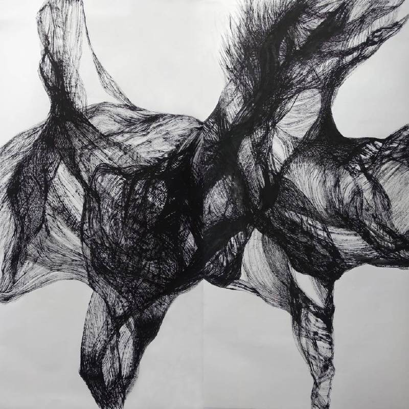 顯像, 136 x 140 cm, 水墨、宣紙, 2017