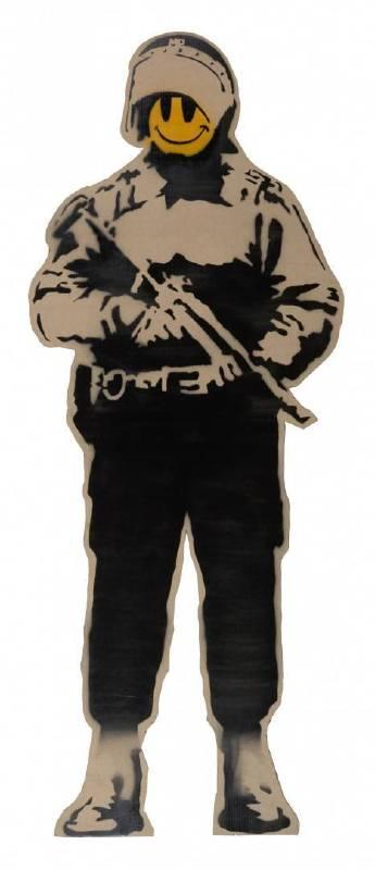 Banksy作品《Smiling Copper》,2003年作品。圖/富藝斯拍賣行提供。