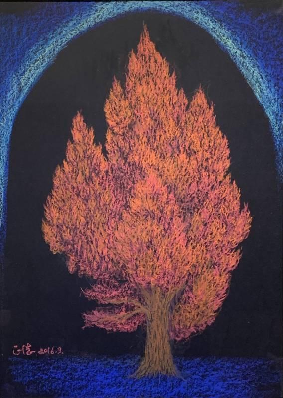 虔誠的樹 46X39cm 油性粉彩 盛正德