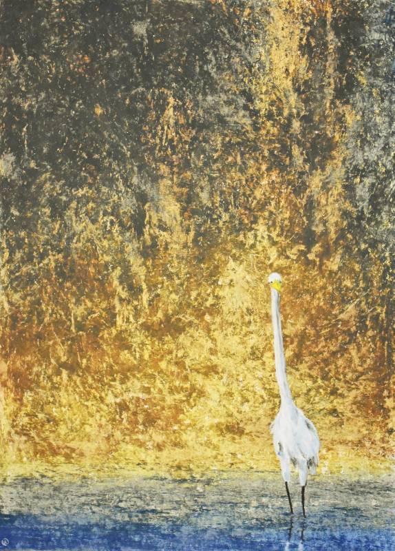 葉東進 凝觀 2000年 75x55cm(20.6F) 油彩蠟筆.卡紙
