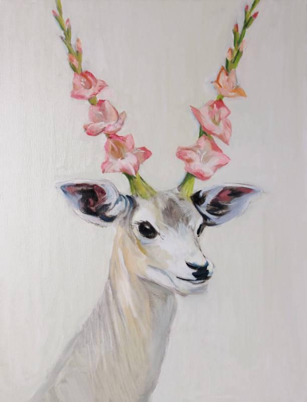 洪司丞《動物喜宴》系列-送花來的鹿 2016年  65.5x50cm(15P) 油彩.畫布