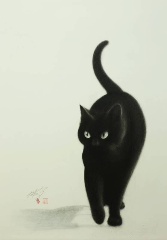 高橋行雄 影 2014年 45×68cm 彩色鉛筆.版畫紙