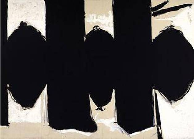 Robert Motherwell ,Elegy to the Spanish Republic No. 110, acrylic with pencil and charcoal on canvas,1971。圖/取自wikipedia