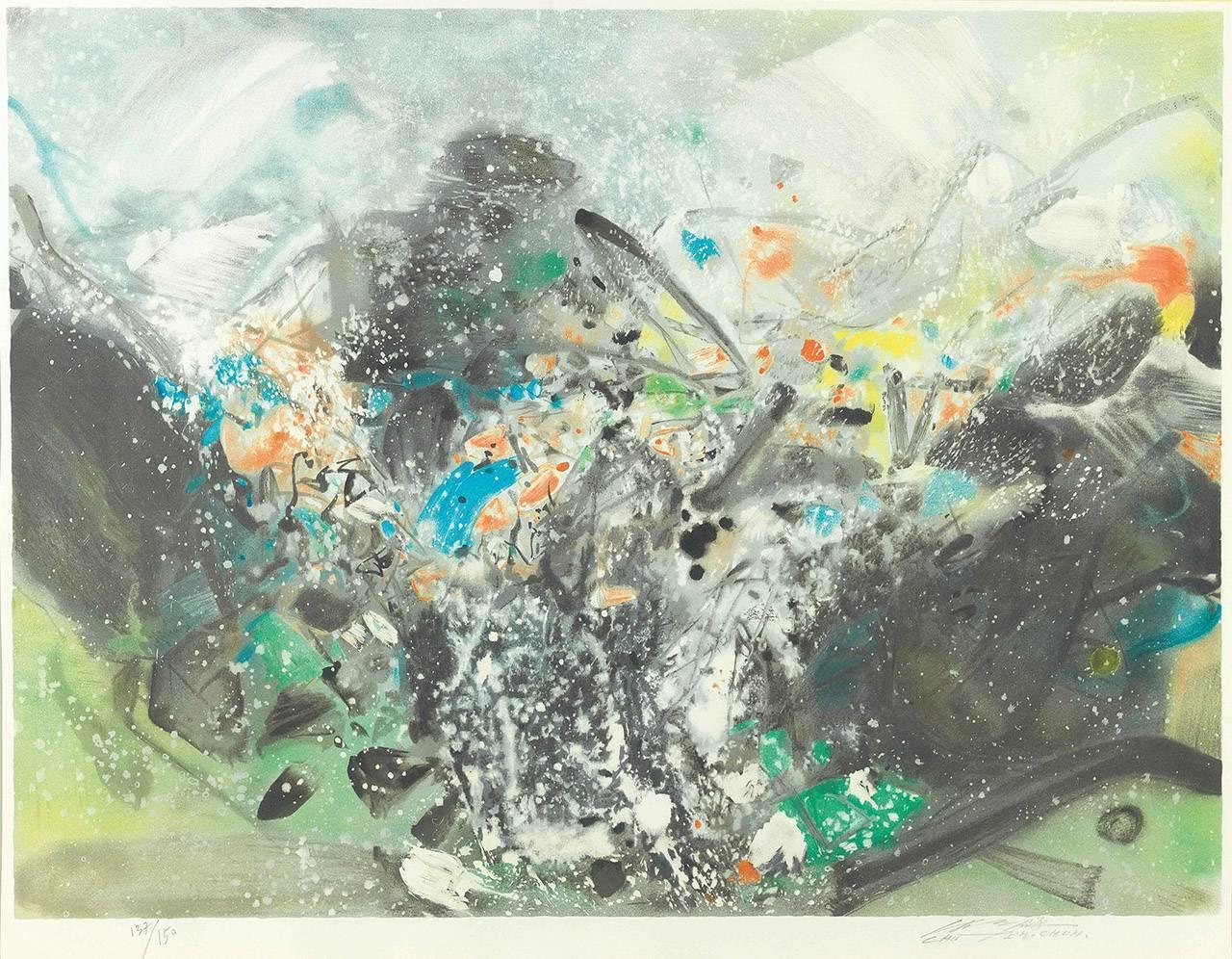 朱德群 雪景 2000-2001 石版畫 60x80cm 版數 137/150 簽名於右下