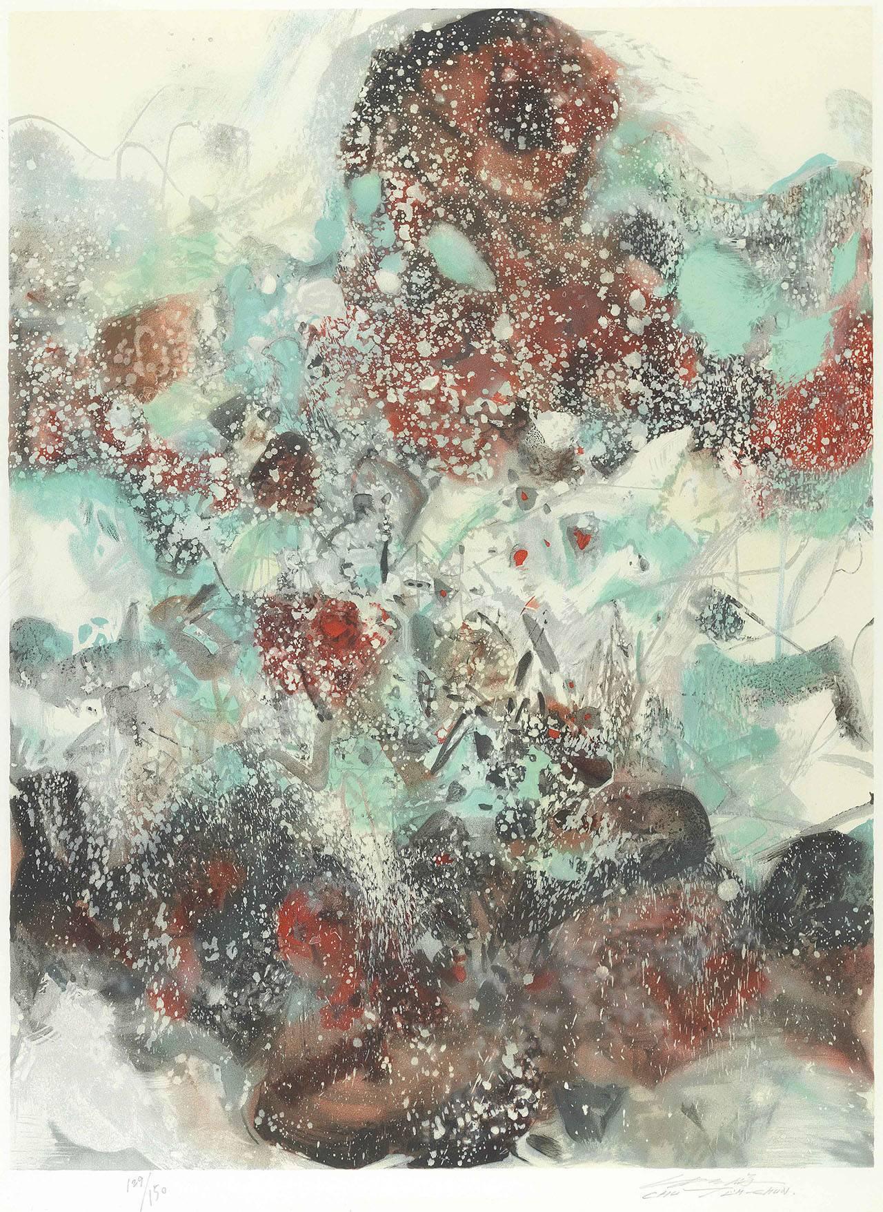 朱德群 雪景 石版畫 92x69cm 版數 129/150 簽名於右下