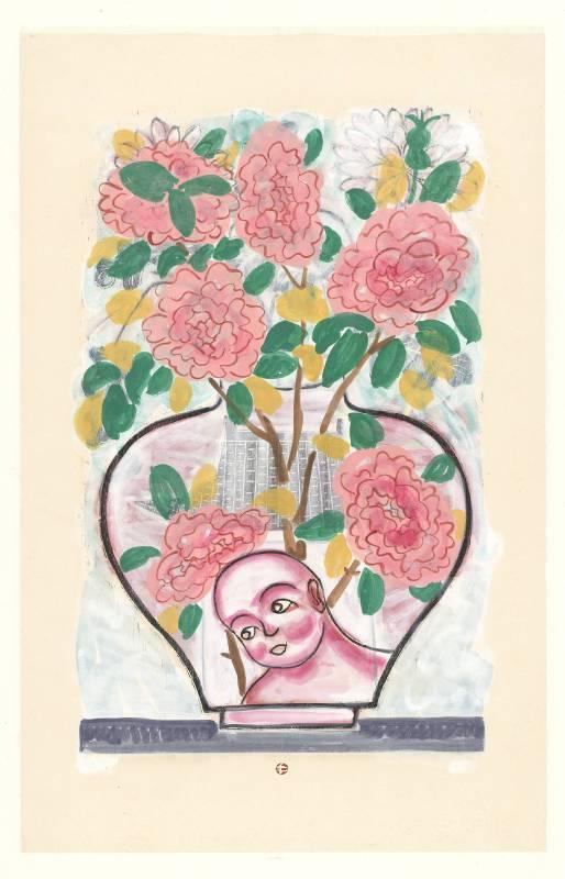王午_仙境娃娃系列-花開富貴_水印木刻版畫上彩_120×78 cm_2010-2019