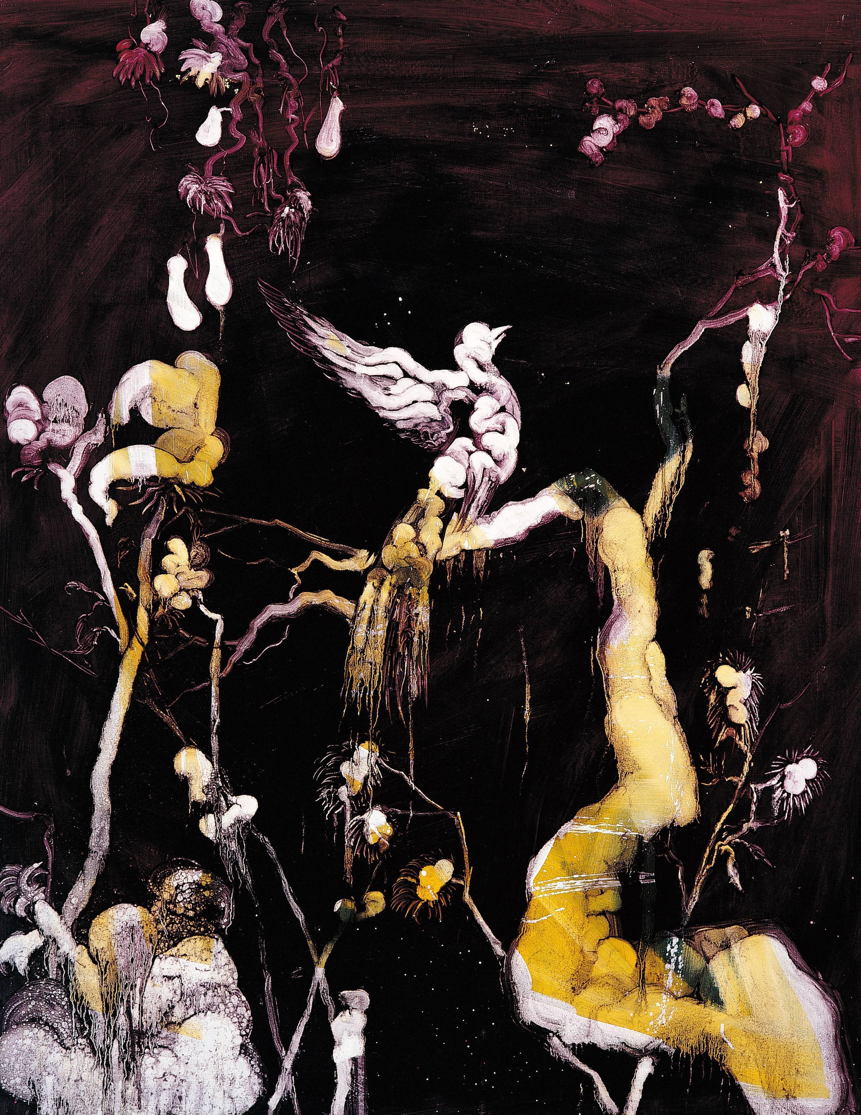 常陵|五花肉系列-肉花鳥-夢縈燕燕圖|2007|油彩|116.5x91cm