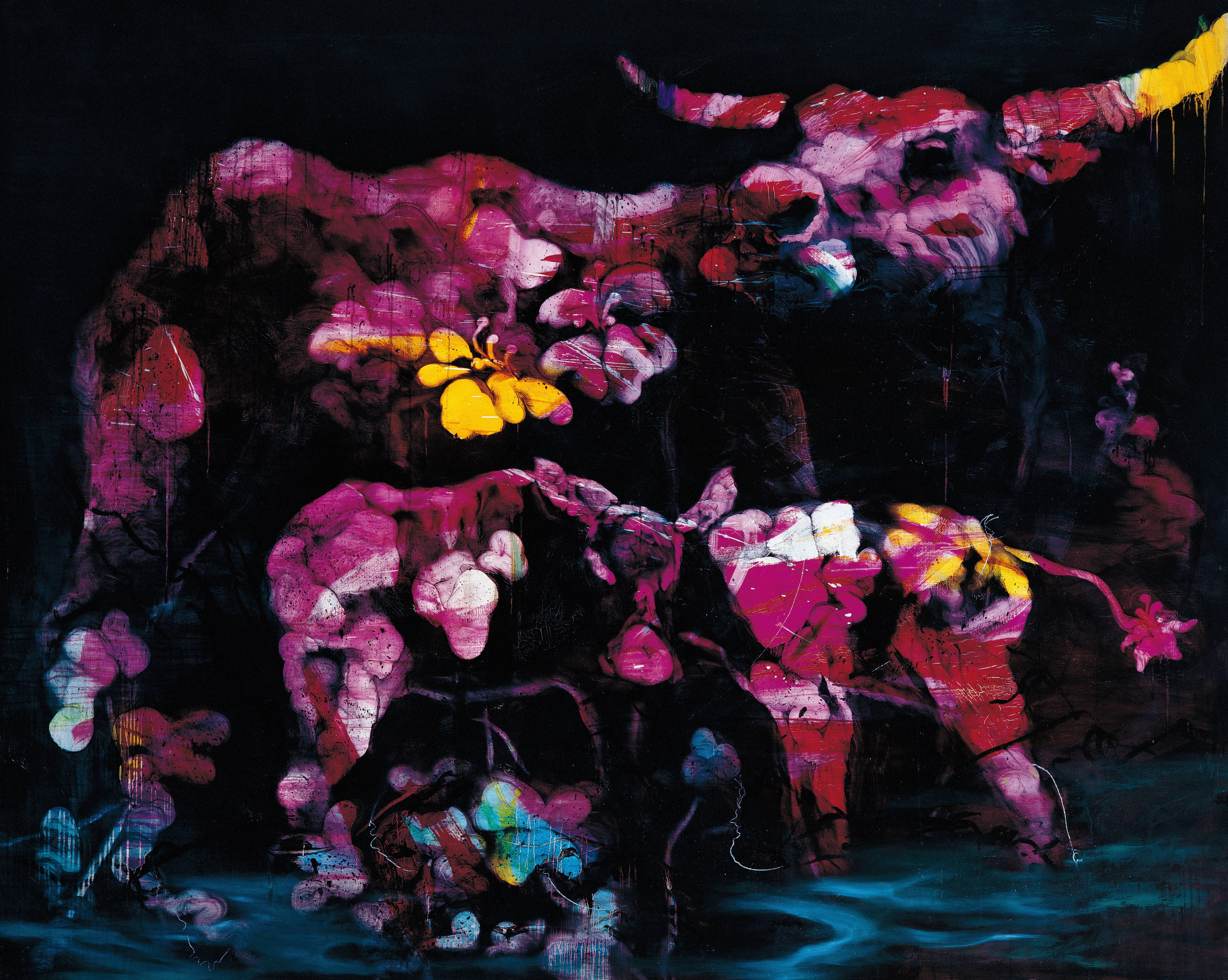 常陵|五花肉系列-肉花鳥-台灣水牛圖|2007|油彩|182x227cm