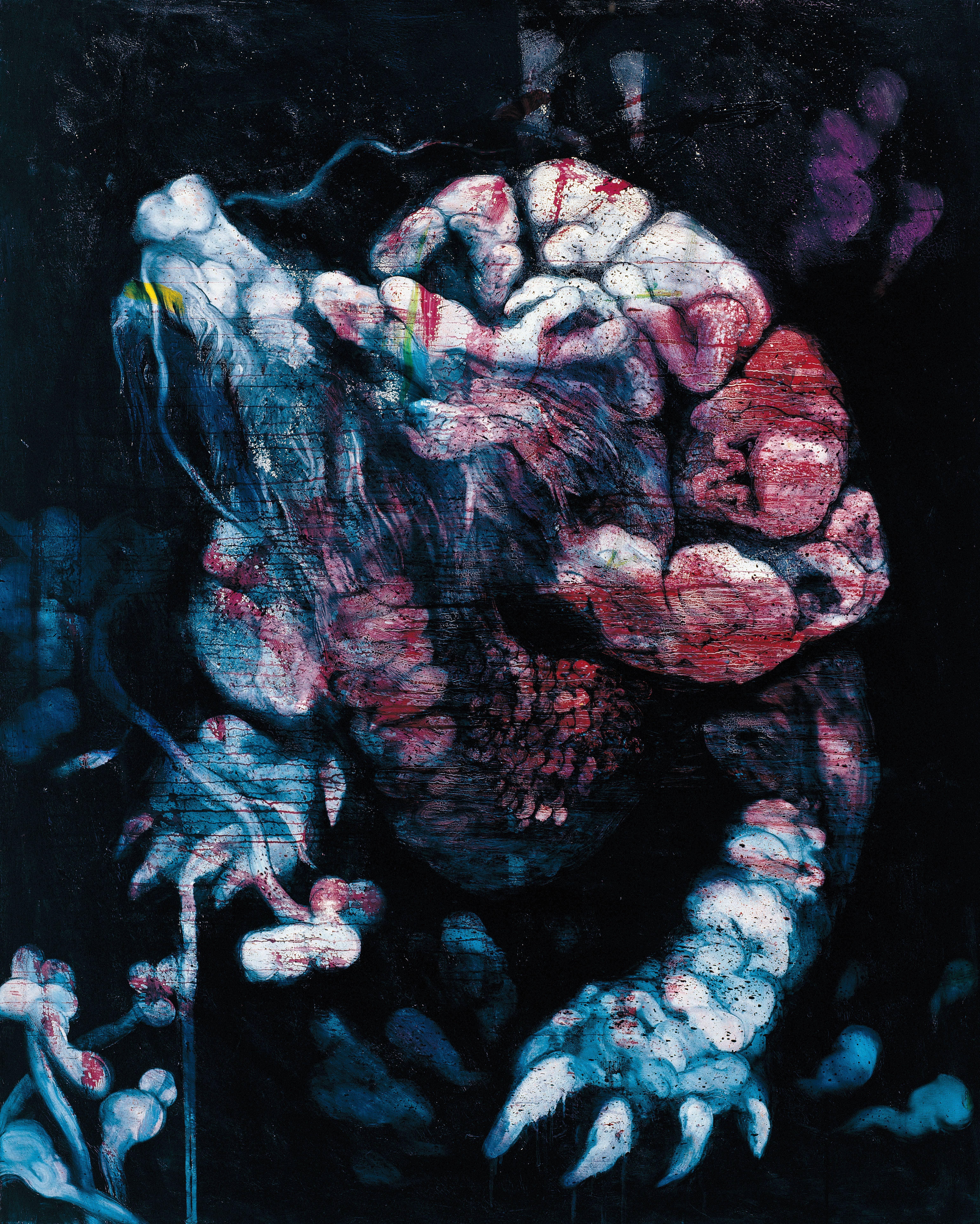 常陵|五花肉系列-肉花鳥-玄武出世圖|2007|油彩|162x130cm