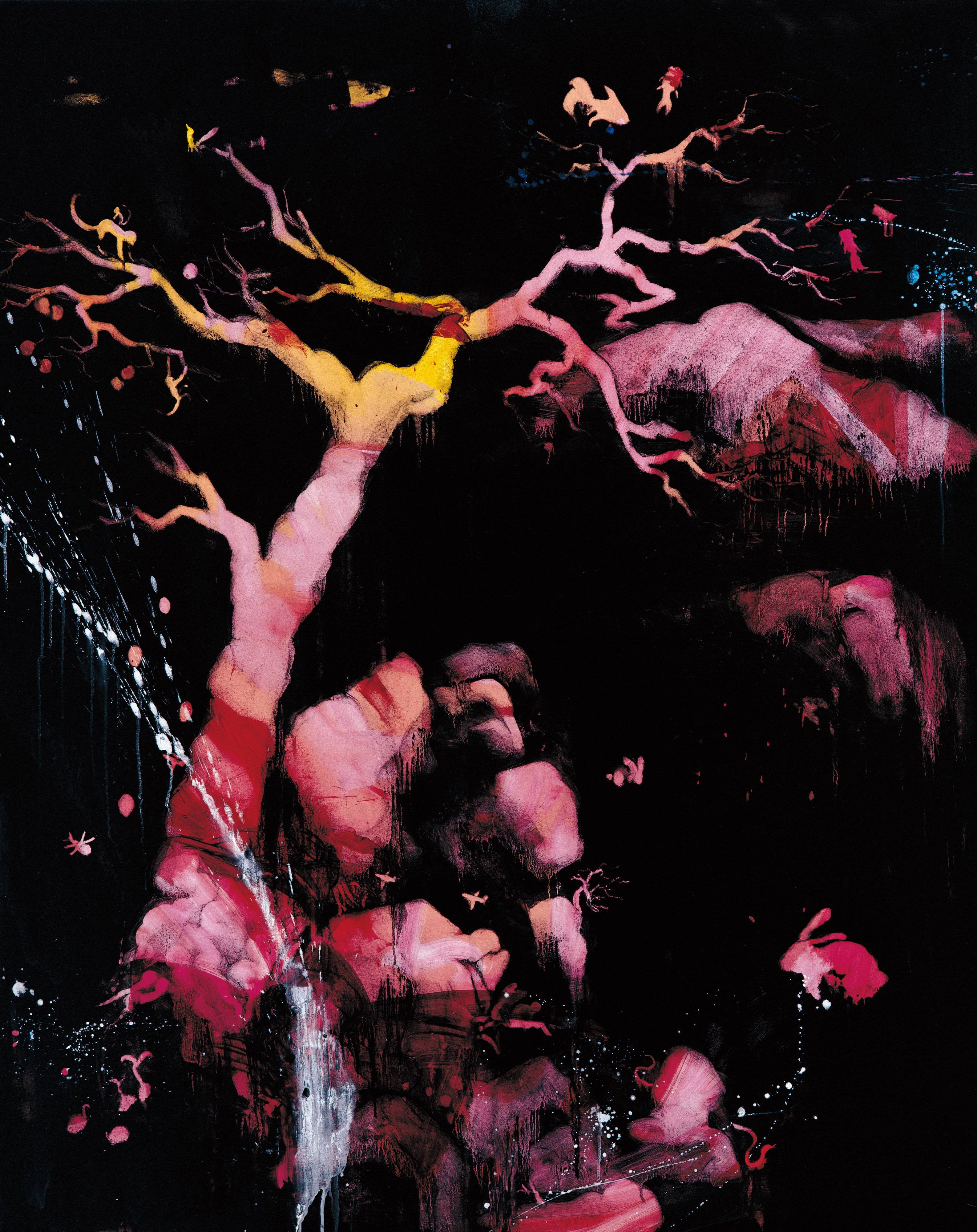 常陵|五花肉系列-肉花鳥-泉水小語圖|2007|油彩|162x120cm
