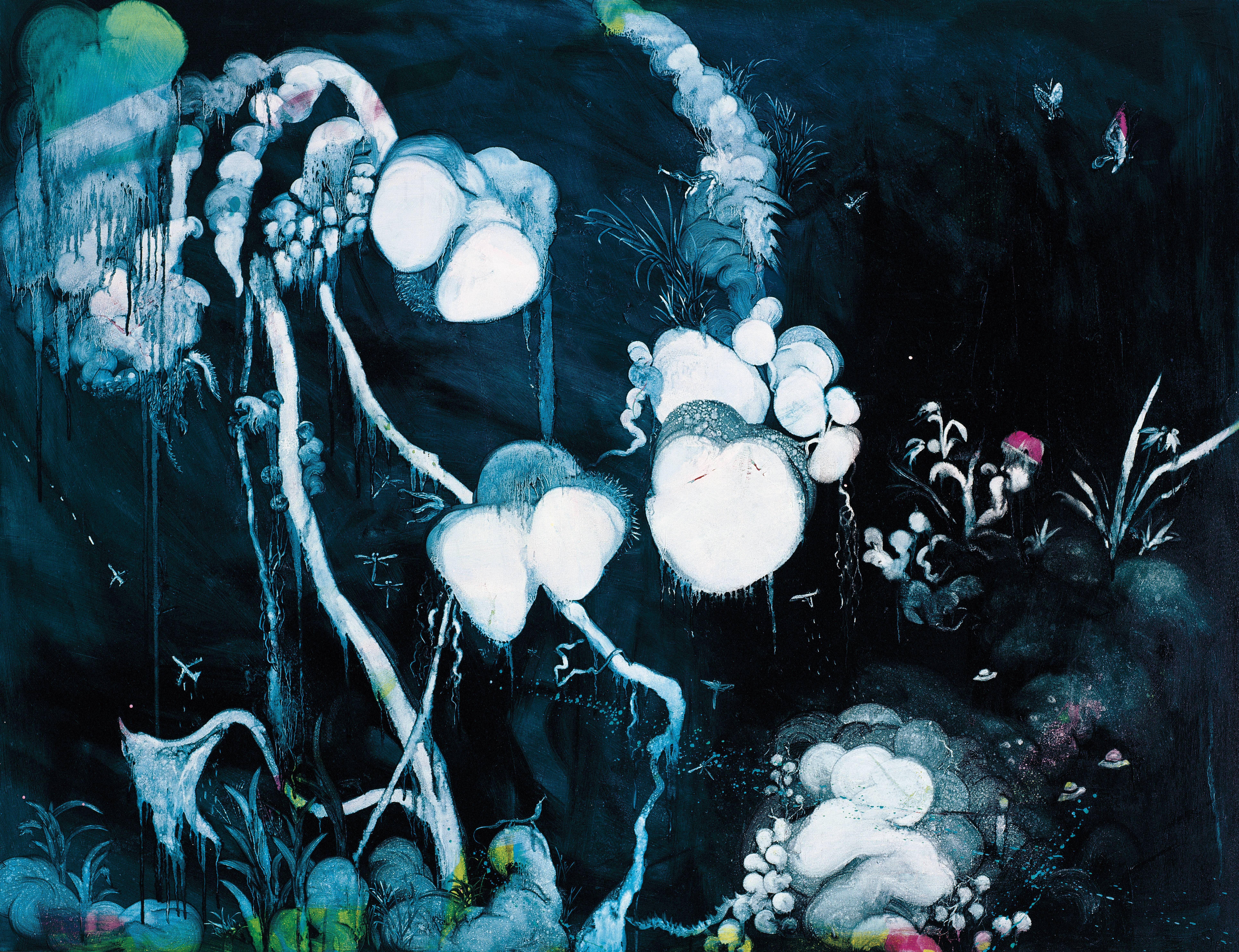 常陵|五花肉系列-肉花鳥-野放蘭|2007|油彩|112x145.5cm