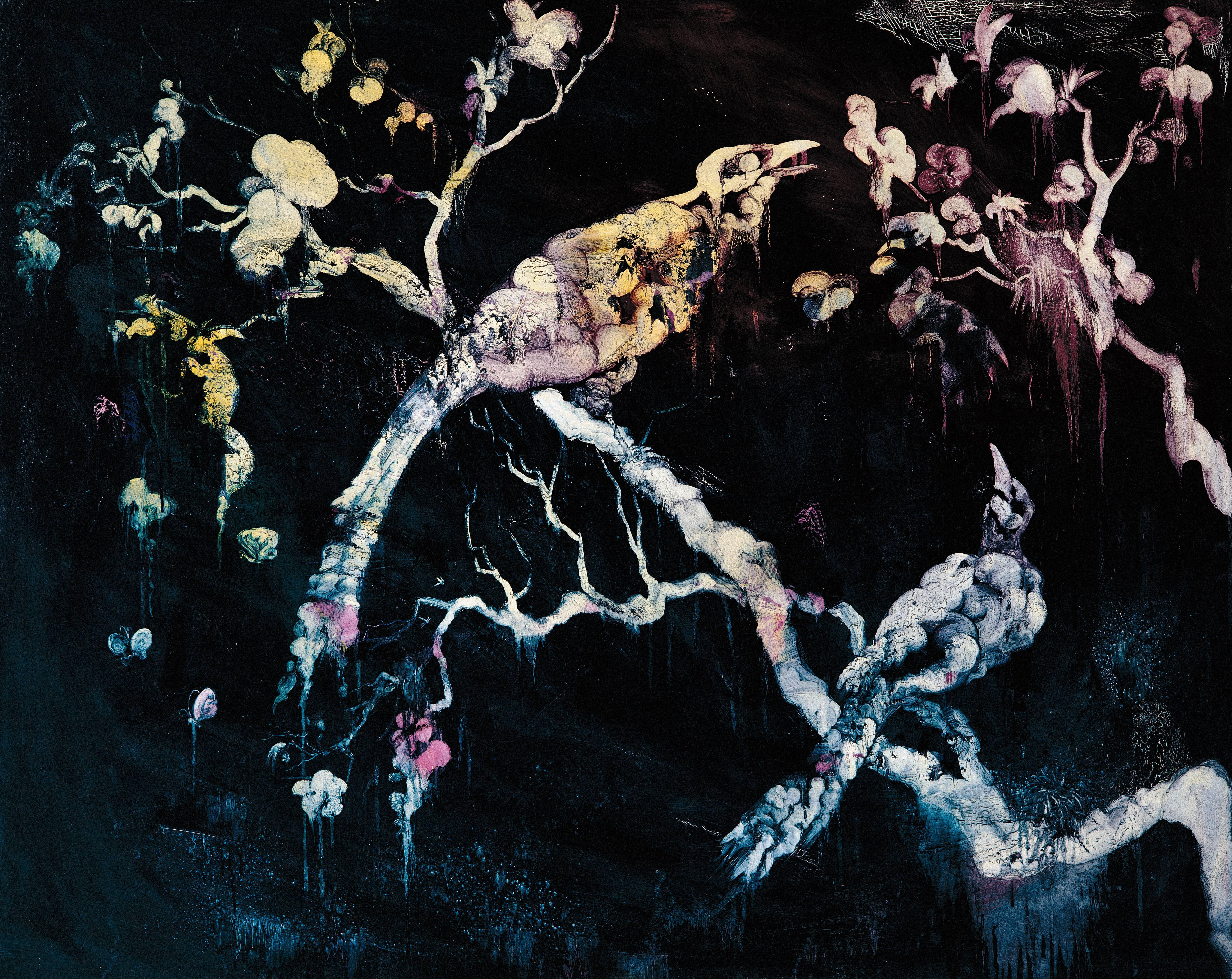 常陵|五花肉系列-肉花鳥-靜待拂曉圖|2007|油彩|120x162cm