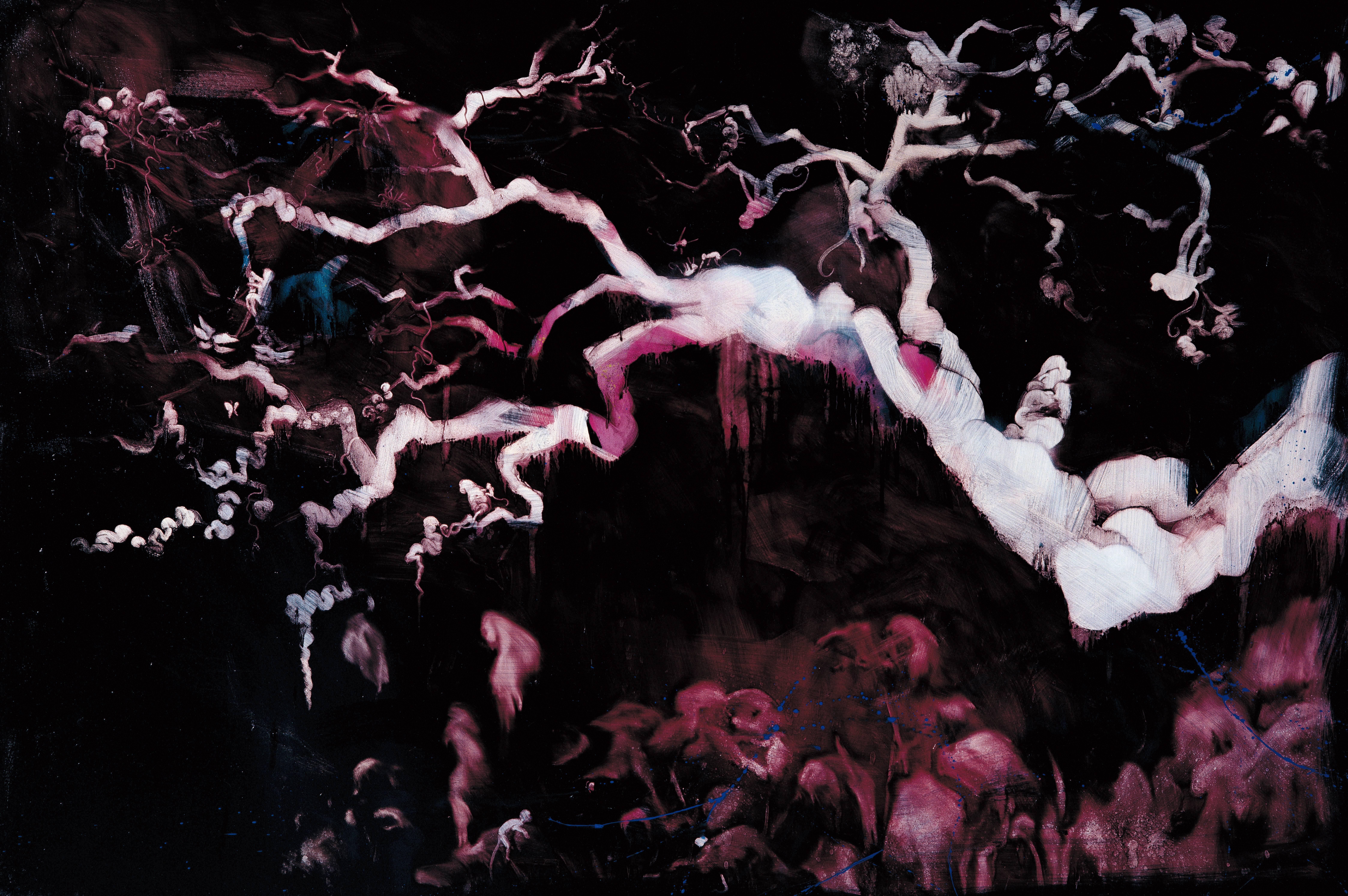常陵|五花肉系列-肉花鳥-桃林一堣花景圖|2007|油彩|130x194cm