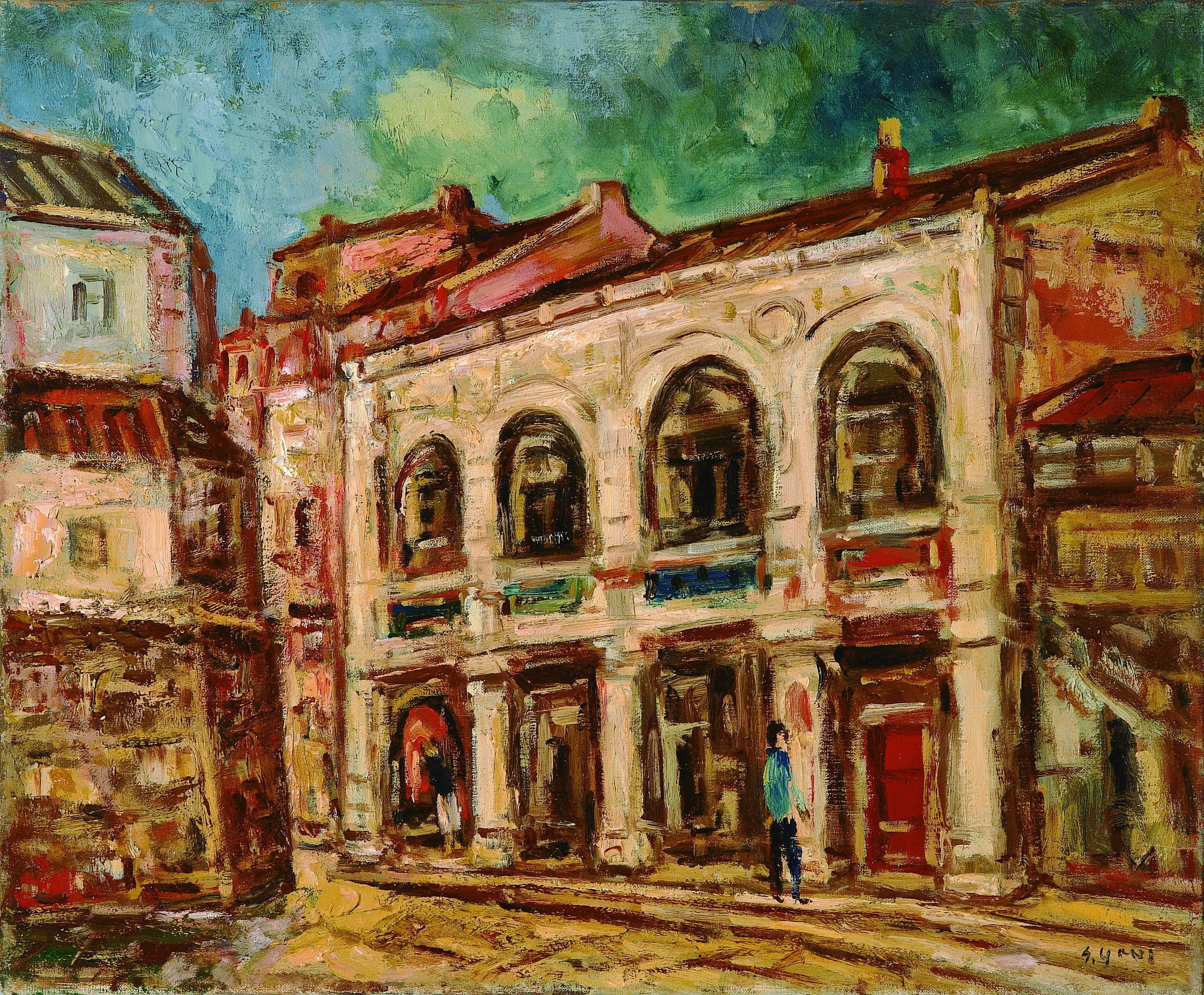 楊三郎|大稻埕舊街|1952|油彩|50x60.5cm