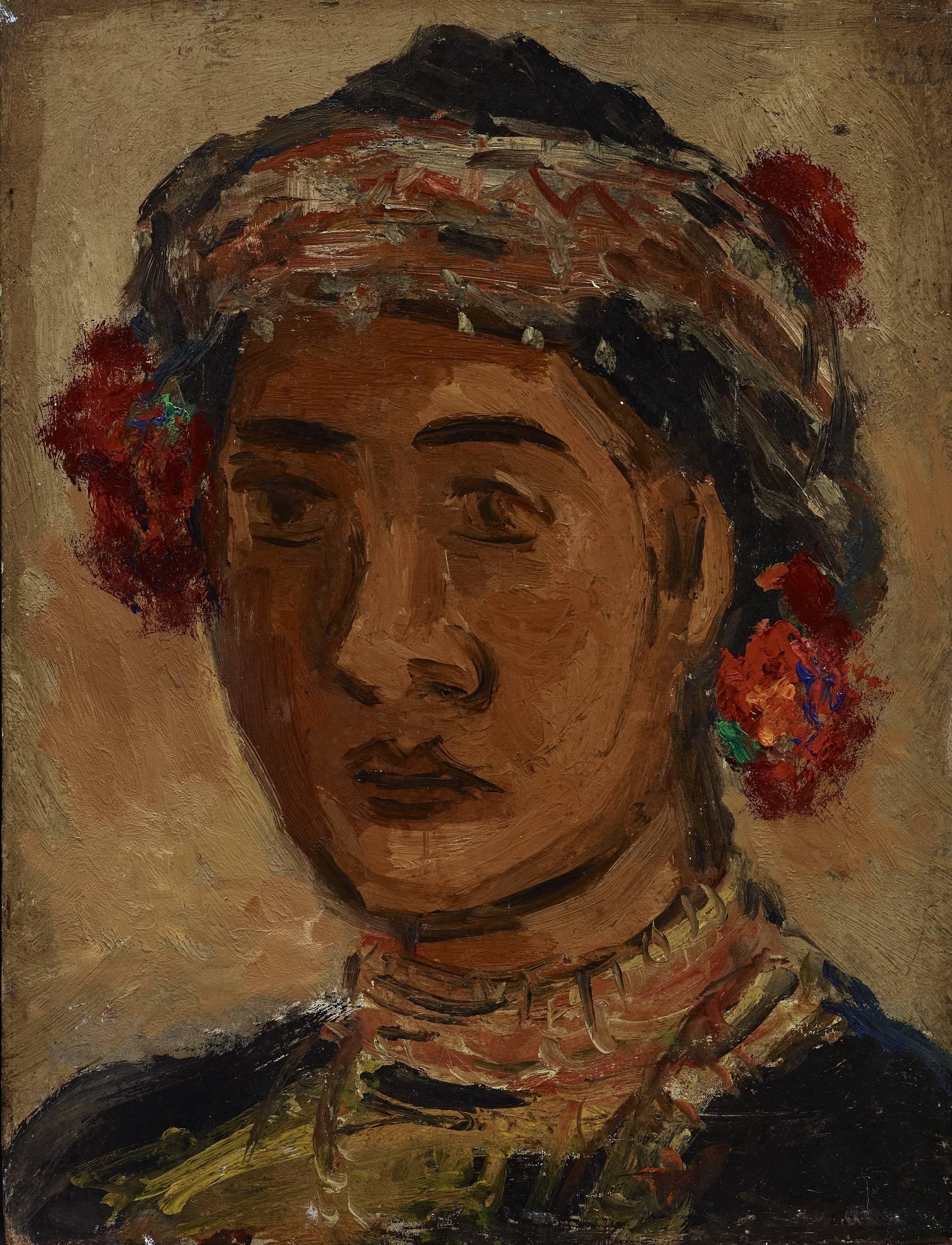 楊三郎|原住民少女|1952|油彩|27x22cm