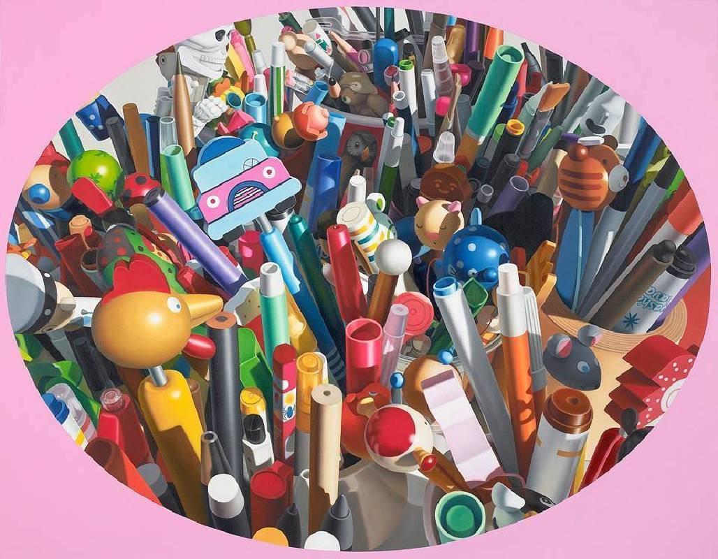 洪京澤 Hong Kyoung Tack  筆-混亂與失序(1)  Pens -Chaos and Disorder (1)  91×116.7cm  布面壓克力與油彩  Acrylic & Oil on Linen  2018