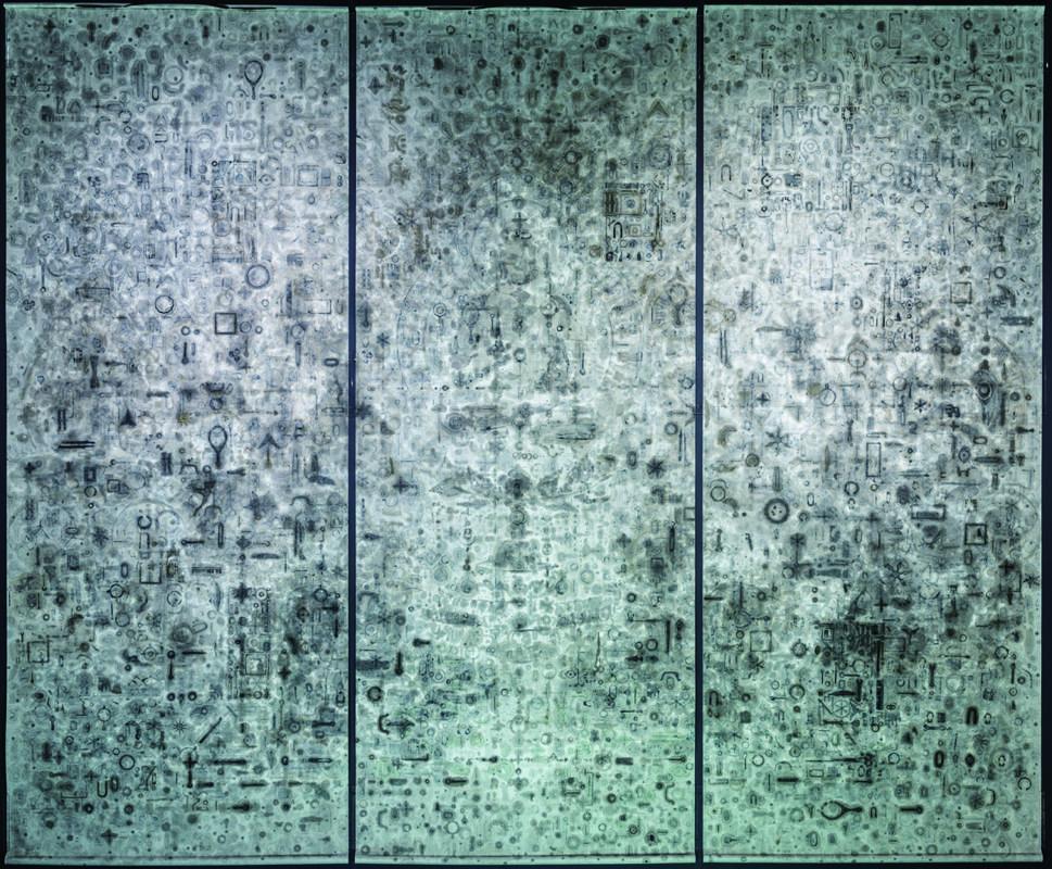 史金淞,《經變圖》,綜合媒材 367 x 144 cm x 3件,2016 。