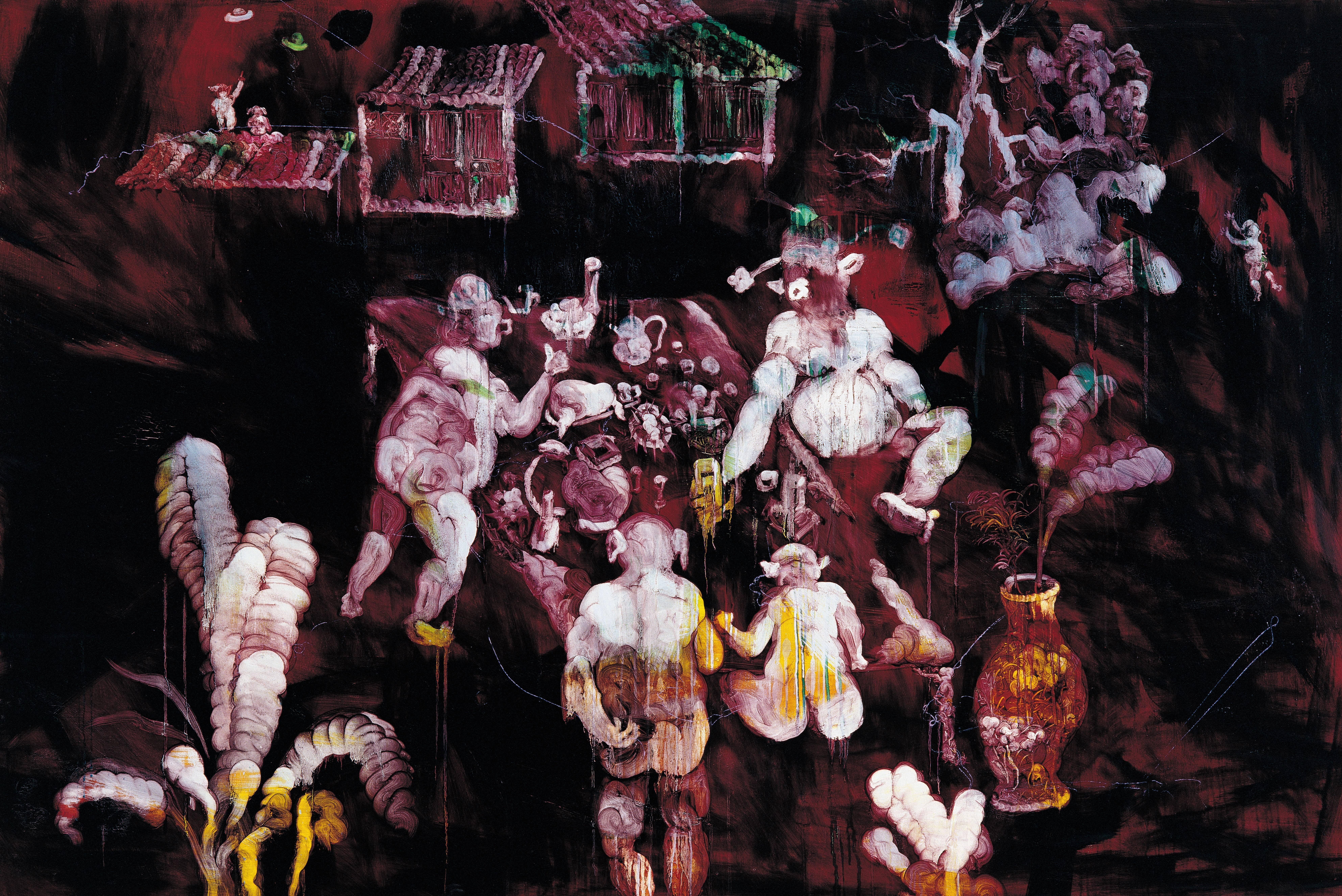 常陵|五花肉都市-肉都市-高家莊夜宴|2008|油彩|130x194cm