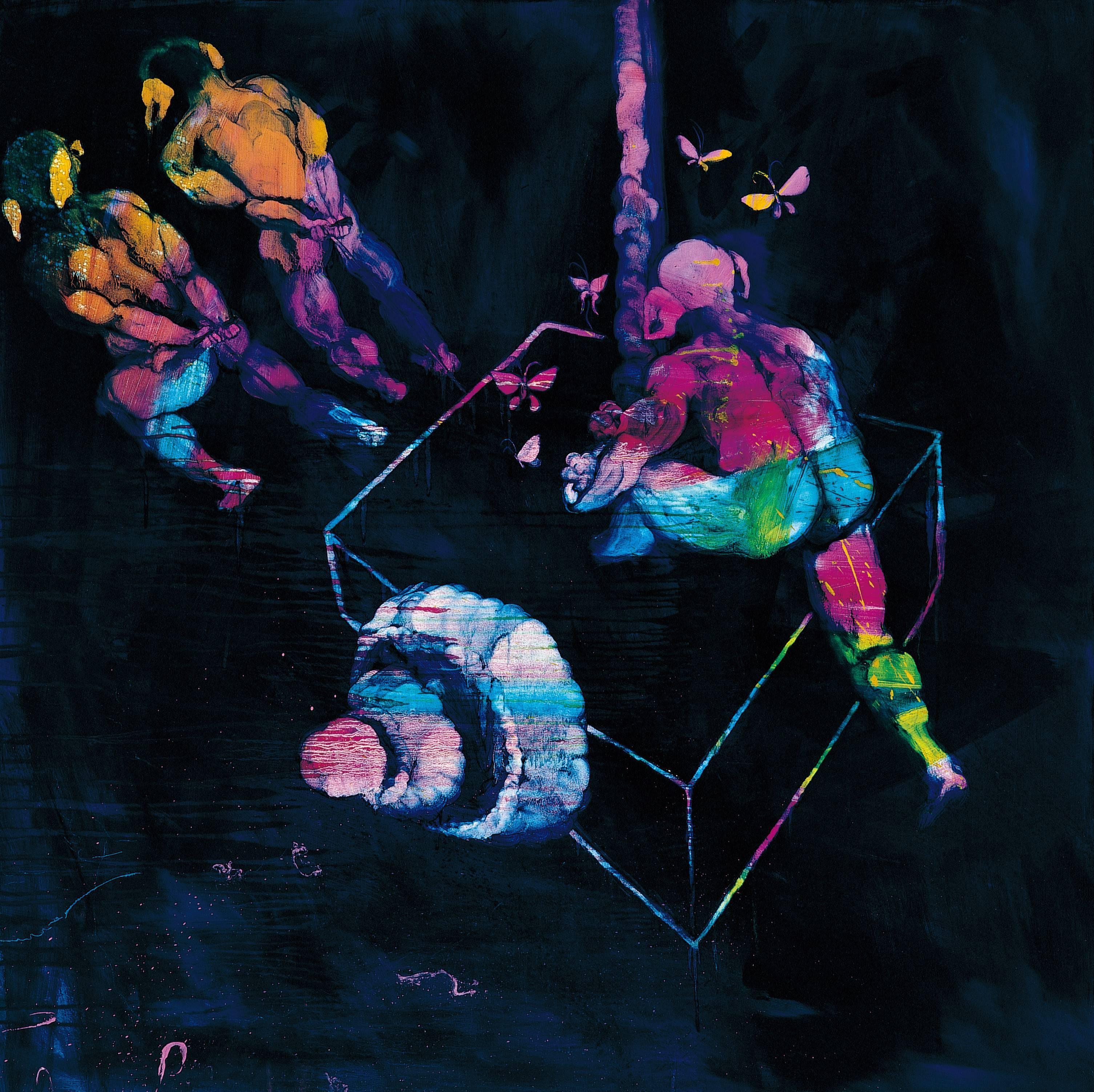 常陵|五花肉系列-肉都市工作中的豬鼻子|2008|油彩|130x130cm