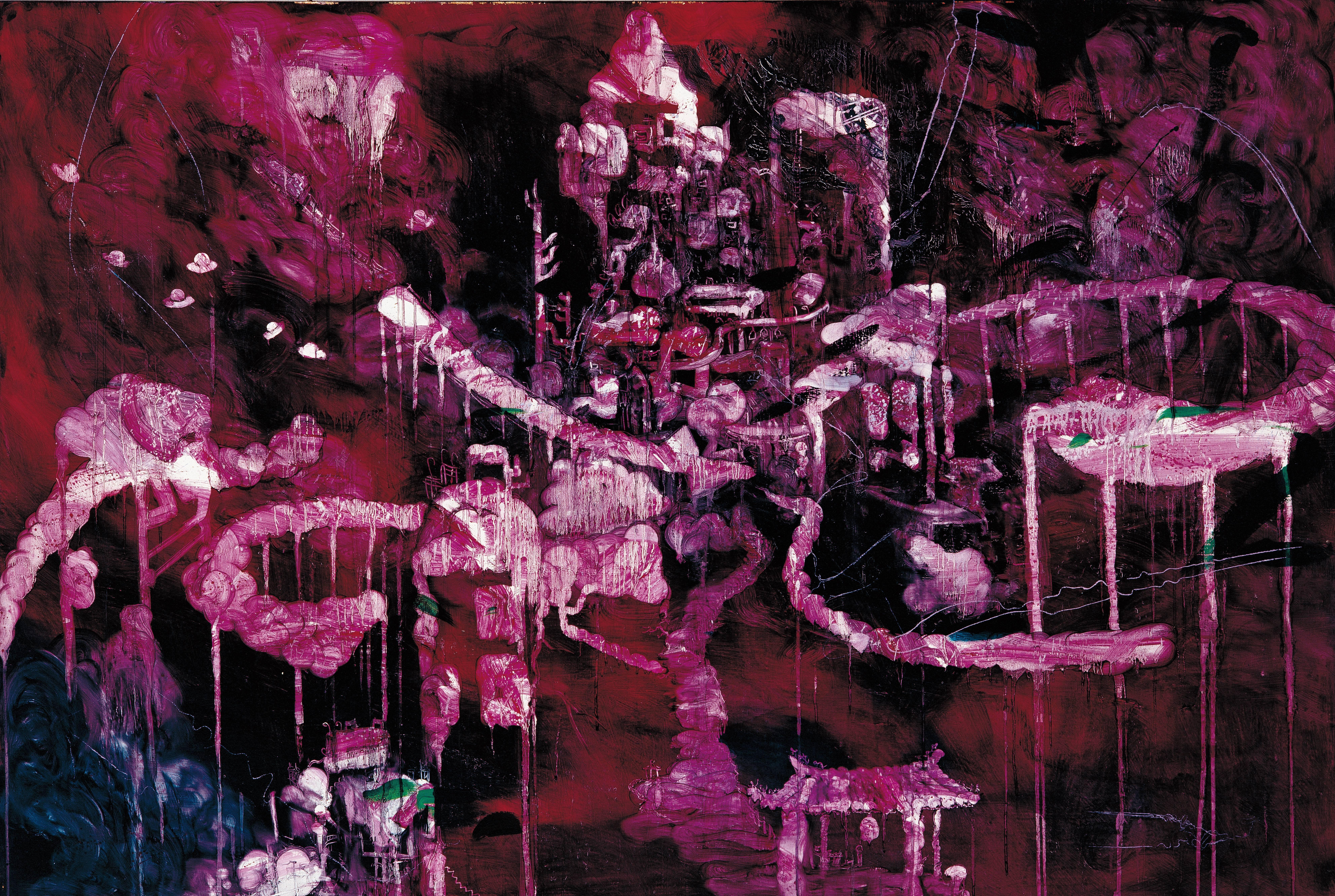 常陵|五花肉系列-肉都市-都市一覽|2008|油彩|130x194cm
