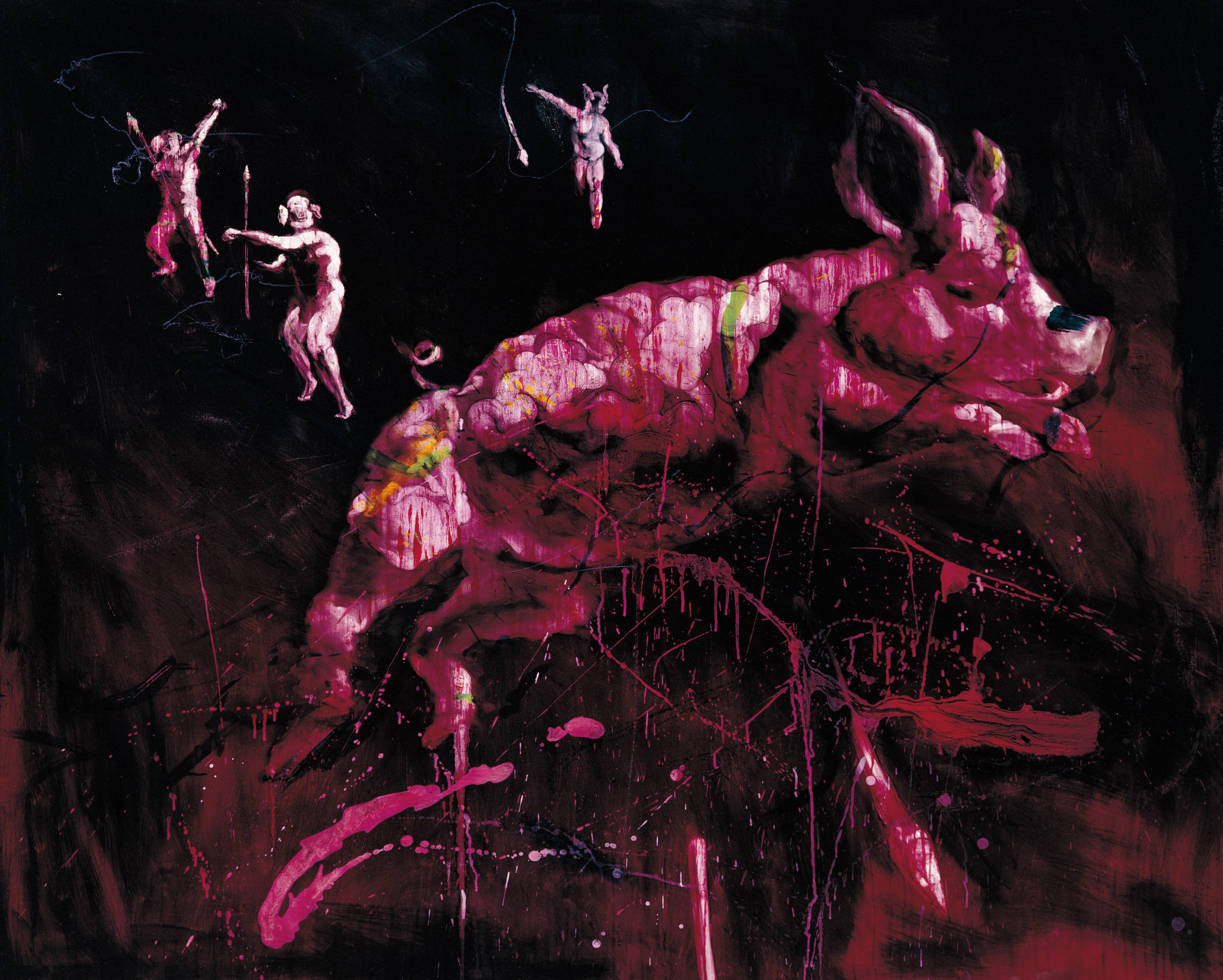 常陵|五花肉系列-肉都市-豬鼻族狩獵|2008|油彩|130x162cm
