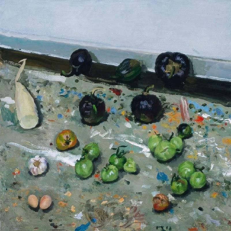 劉小東,畫室地上的蔬菜,2018,油彩/畫布,100 x 100 cm