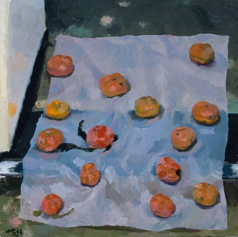 劉小東,蠟紙上的柿子,2018,油彩/畫布,100 x 100 cm