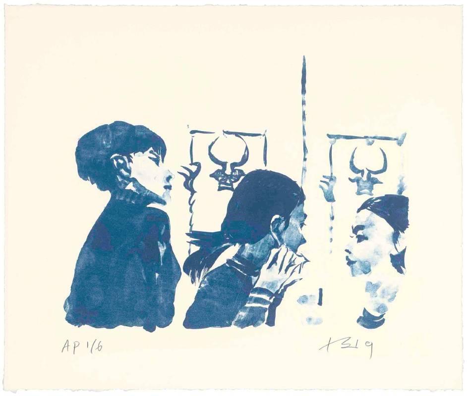 劉小東,紅孩兒戴耳環2,2019,石版畫/紙,38 x 45 cm丨30 Ed. + 6 AP