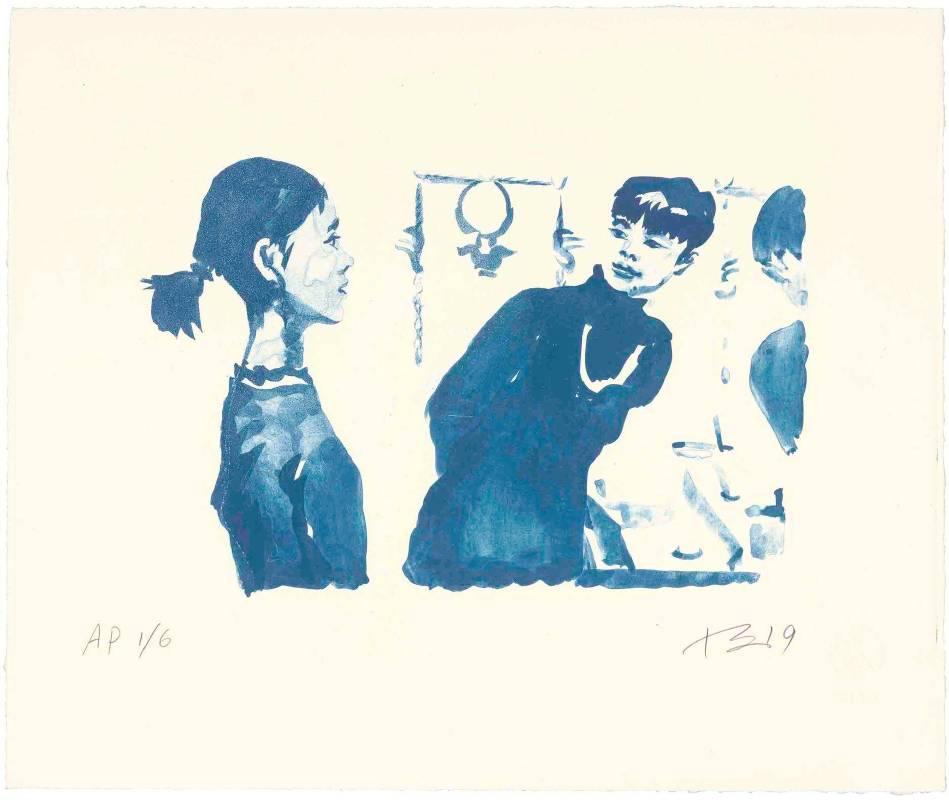 劉小東,紅孩兒戴耳環3,2019,石版畫/紙,38 x 45 cm丨30 Ed. + 6 AP