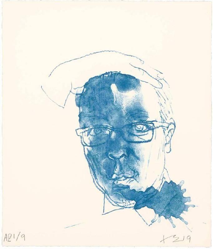 劉小東,藍色自畫像,2019,石版畫/紙,33 x 27.5 cm丨30 Ed. + 9 AP