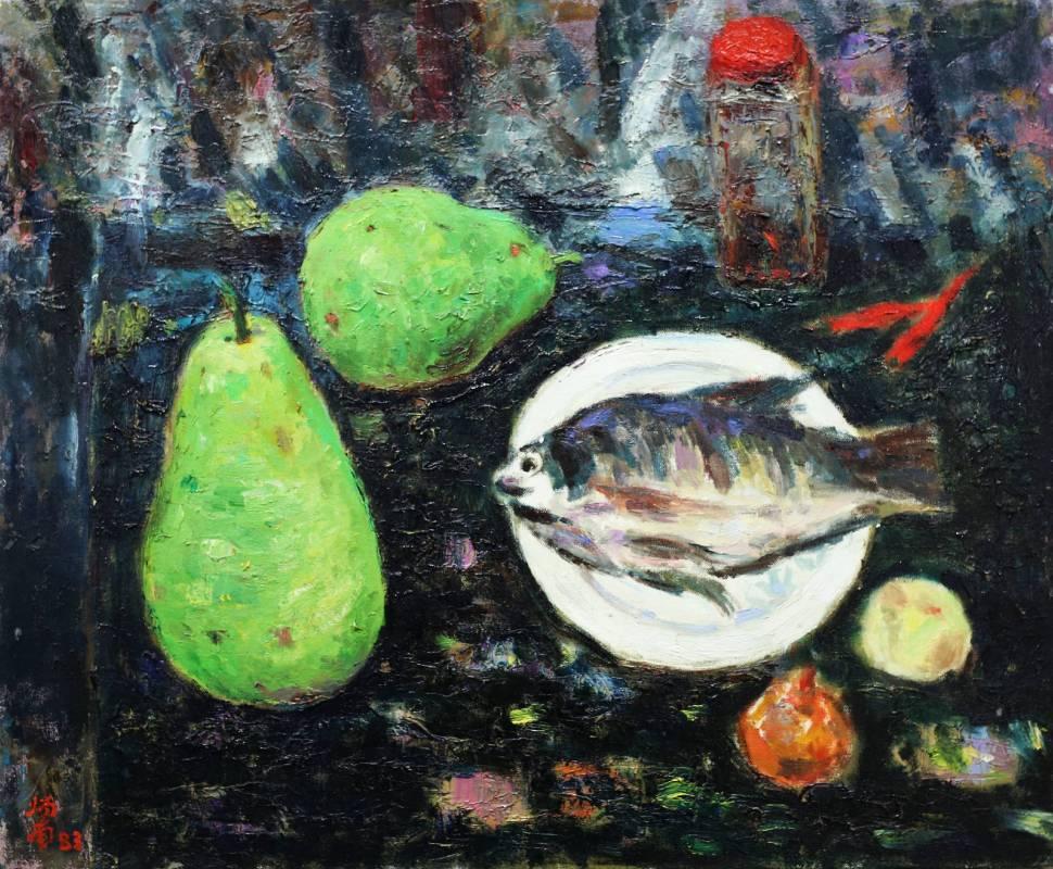 張炳南 有魚的靜物 1983年 50x60.5cm(12F) 油彩畫布
