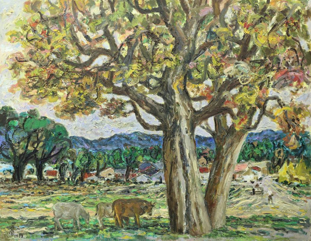 張炳南 大樹下 1983年 90.5x116.5cm (50F) 油彩畫布