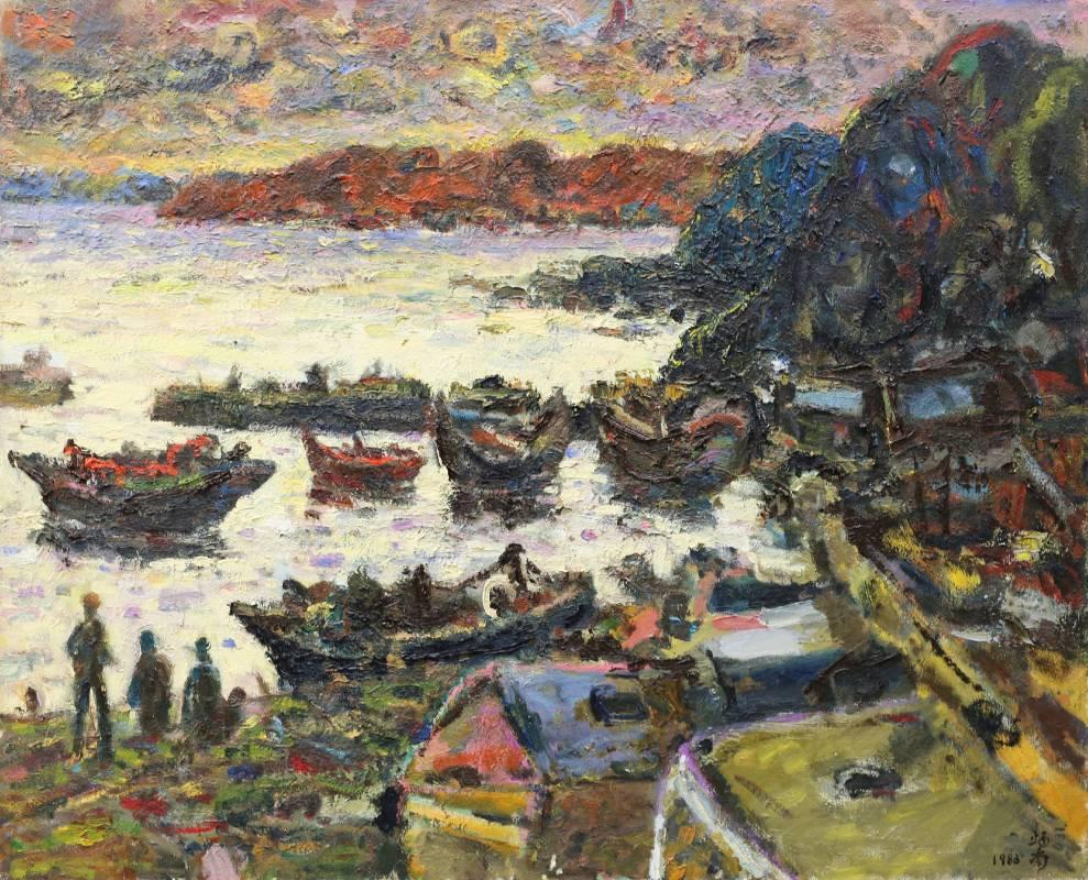 張炳南 漁港暮色 1983年 65x80.5cm(25F) 油彩畫布