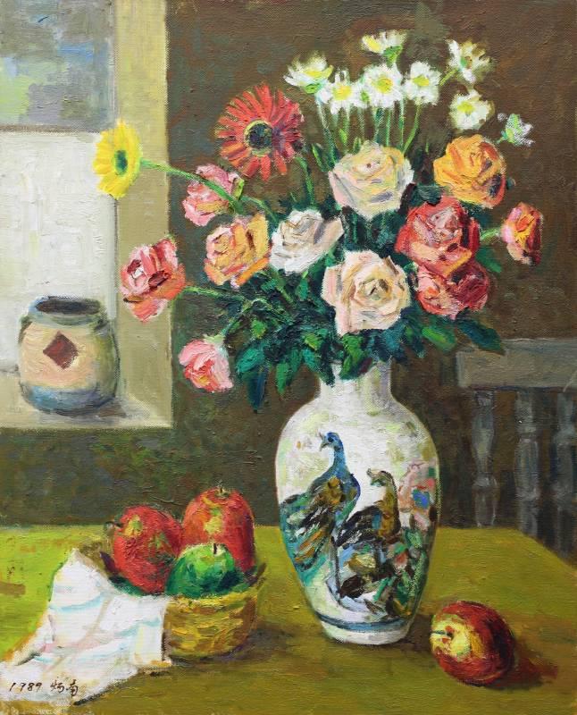 張炳南 有孔雀的花瓶 1989年 65X52.5cm(15F) 油彩畫布