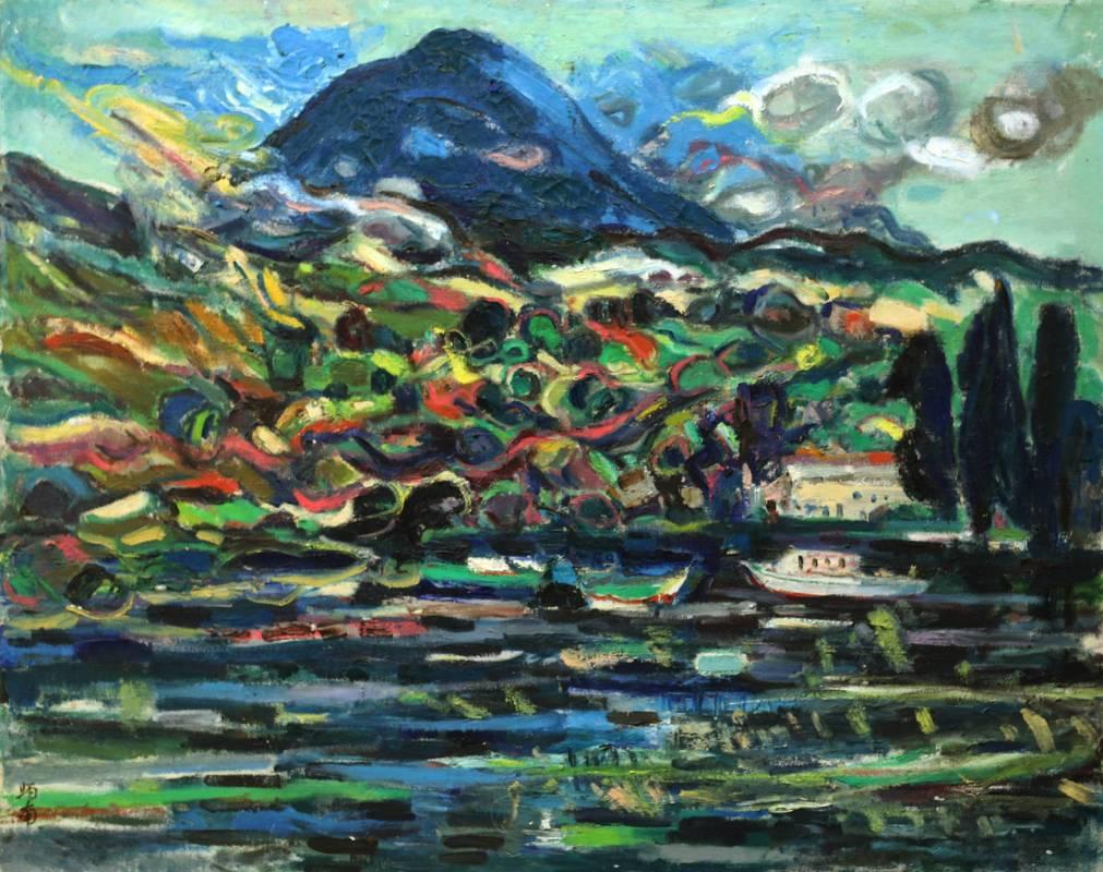 張炳南 箱根蘆之湖 1975年 72.5x90.5cm(30F) 油彩畫布