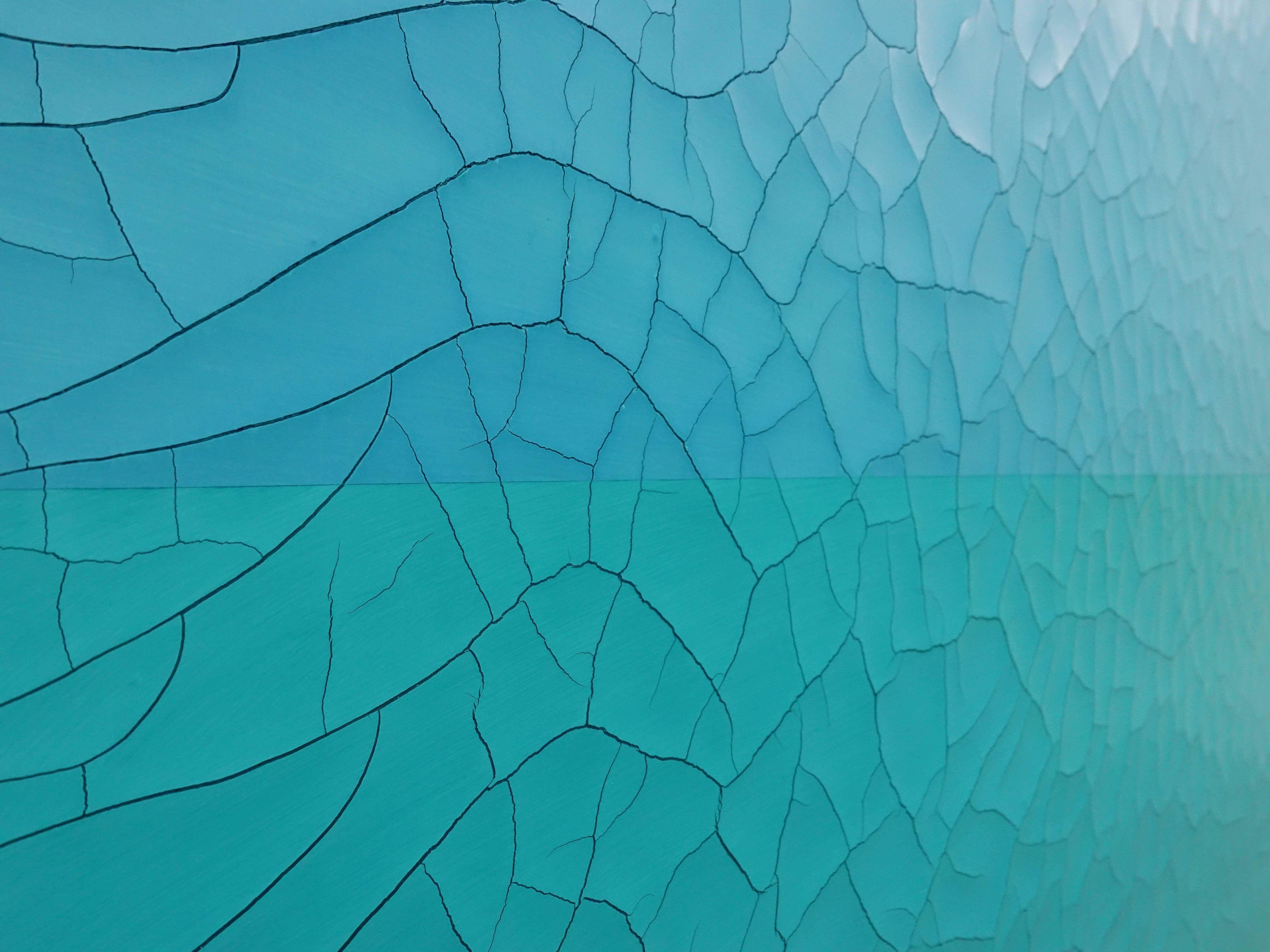 王永衢,《Zig Zig Zag》細節,110 x 110 cm,乳膠漆、廣告顏料、畫布、木板,2019。