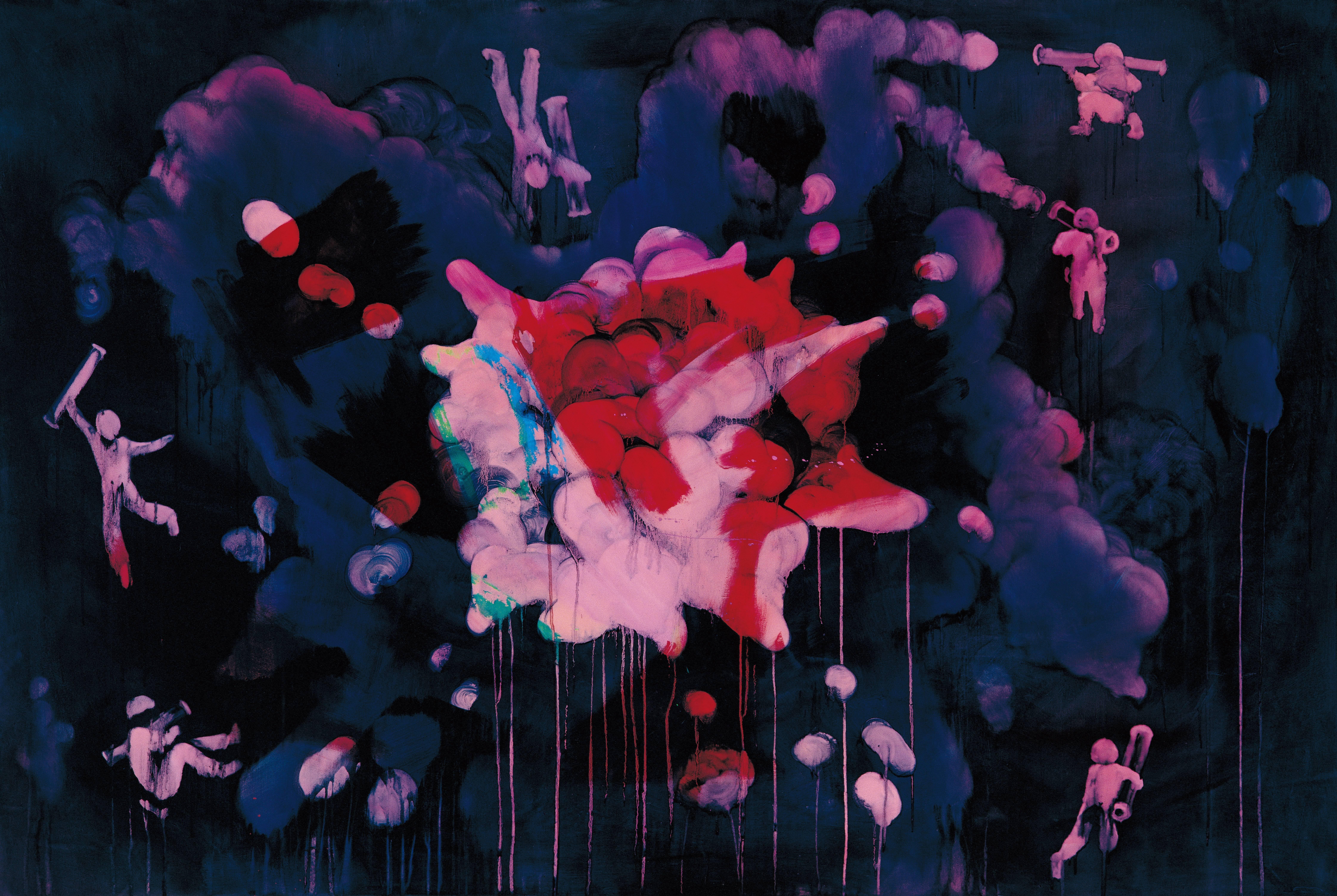 常陵|五花肉系列-肉兵器-火箭筒|2006|油彩|130x194cm
